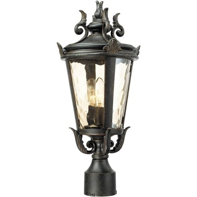 "John Timberland Traditional Outdoor Post Light Veranda Bronze Ornate Scroll 20 1/2"" Champagne Hammered Glass for Exterior Yard"