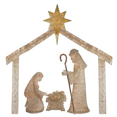 "J. Hofert Co 69.5"" Pre-Lit Beige and Gold LED Lighted Holy Family Nativity Outdoor Christmas Decor"