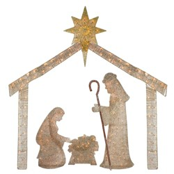 """J. Hofert Co 69.5"""" Lighted Beige and Gold Rattan Holy Family Nativity Christmas Outdoor Decoration"""
