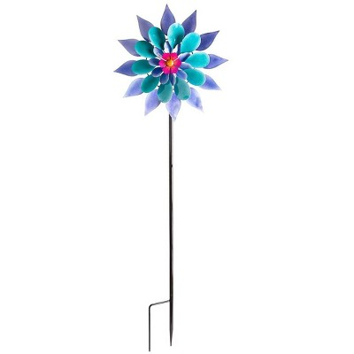 Wind & Weather Purple and Blue Flower Wind Spinner