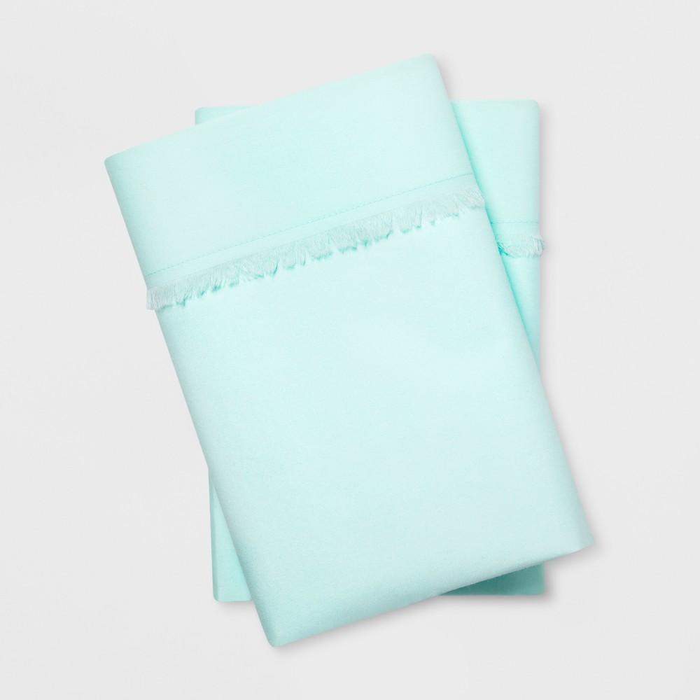 Solid Fringe Percale Cotton Pillowcases (Standard) Aqua (Blue) - Opalhouse