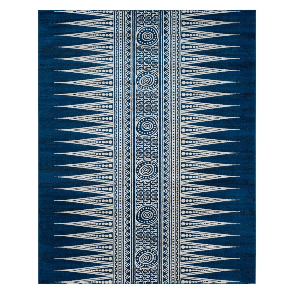 Tribal Design Loomed Area Rug Dark Blue/Ivory