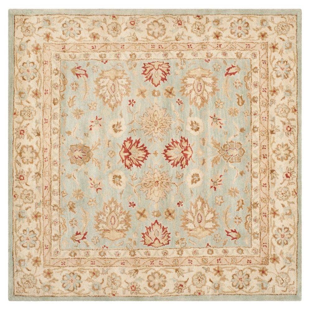 Floral Tufted Square Area Rug Gray/Blue