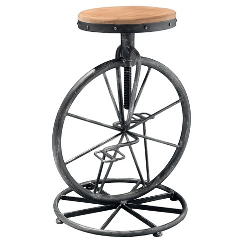 "Michaelo 34.75"" Adjustable Bicycle Wheel Barstool Black - Christopher Knight Home - image 1 of 4"