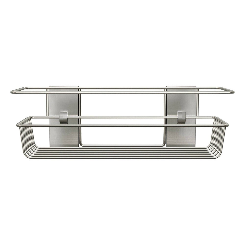Image of Command Metal Shower Caddy Satin Nickel, Silver