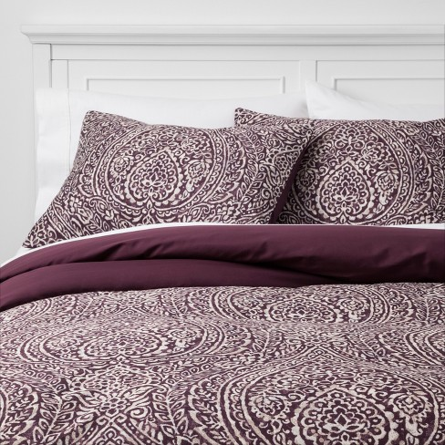 Paisley Ogee Duvet Cover Set Purple - Threshold™ - image 1 of 4