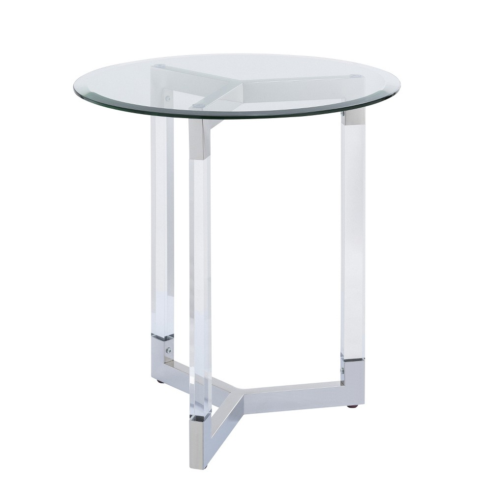 Sarling Round Acrylic Accent Table Silver - Aiden Lane