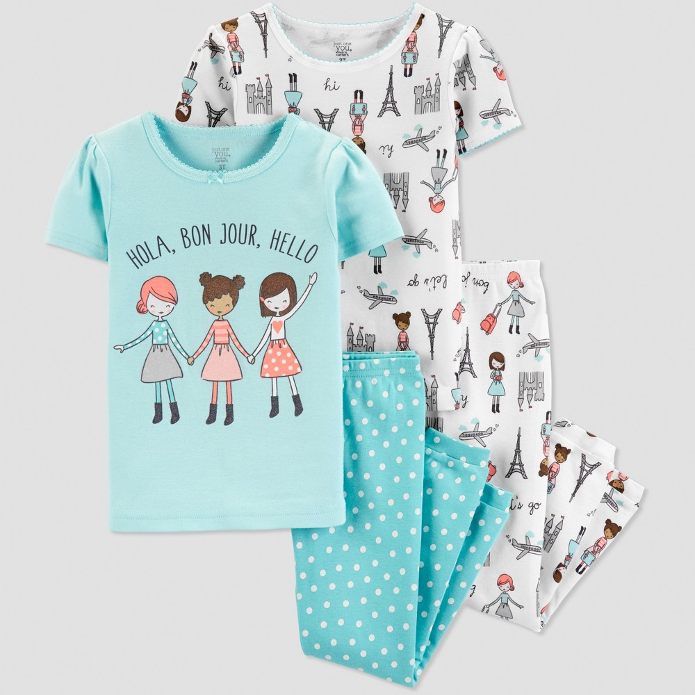 Toddler Girls' 4pc Travel Pajama Set - Just One You made by carter's Blue 3T