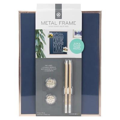 Ubrands Copper Frame Magnetic Blue Chalk Board - 11  x 14