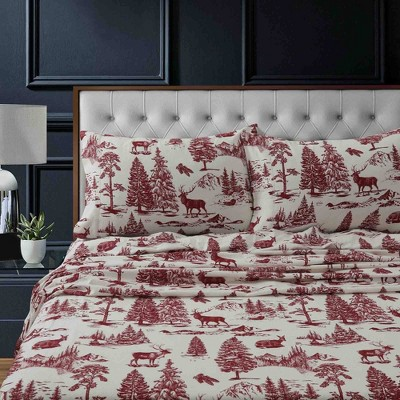 California King Printed Pattern Extra Deep Pocket Heavyweight Flannel Sheet Set Red Mountain - Tribeca Living