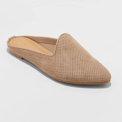Women's Violet Microsuede Perf Mules - Universal Thread™ Taupe 5 - image 1 of 3