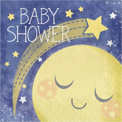 "48ct ""To the Moon and Back"" Baby Shower Napkins Blue"