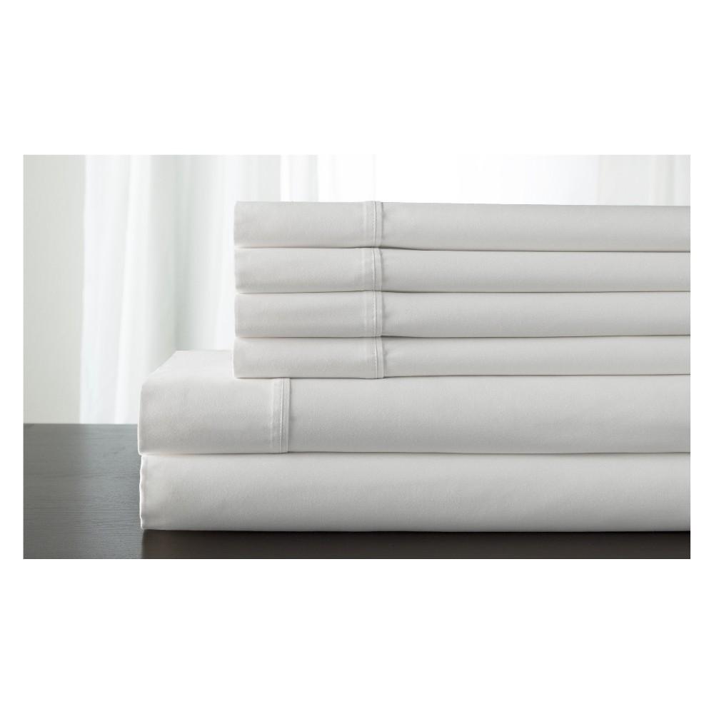 Image of King 800 Thread Count 6pc Kerrington Cotton Sheet Set White - Elite Home Products