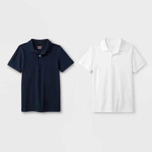 Boys' 2pk Short Sleeve Pique Uniform Polo Shirt - Cat & Jack™ Navy/White - image 1 of 1