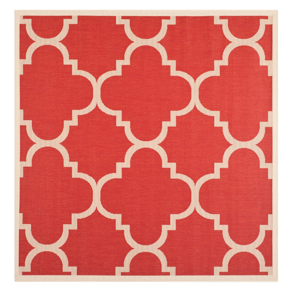 Compare 710 x 710 Richmond Square Outdoor Rug Red Beige - Safavieh