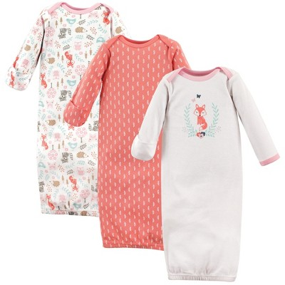 Hudson Baby Infant Girl Cotton Long-Sleeve Gowns 3pk, Woodland Fox, 0-6 Months