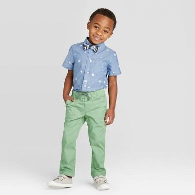 Toddler Boys' 2pc Floral Shirt & Bottom Set with Bowtie - Cat & Jack™ Blue/Green 18M