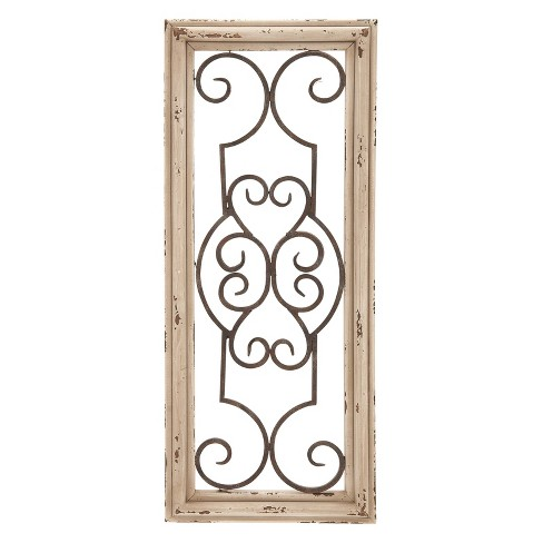 Wood with Metal Decorative Wall Panel 25 X 10 - Olivia & May - image 1 of 2