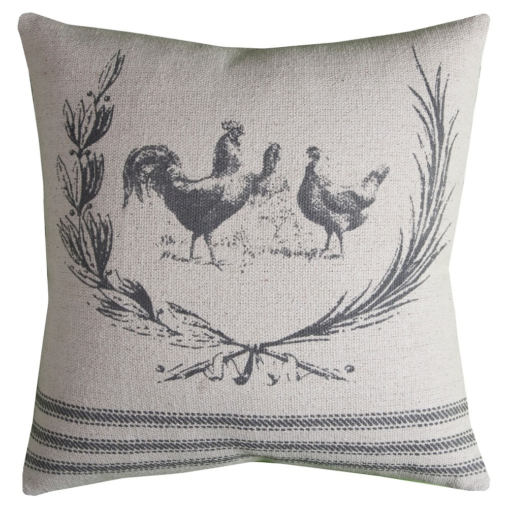 "Image of ""20""""x20"""" Rooster Throw Pillow Natural/Gray - Rizzy Home"""