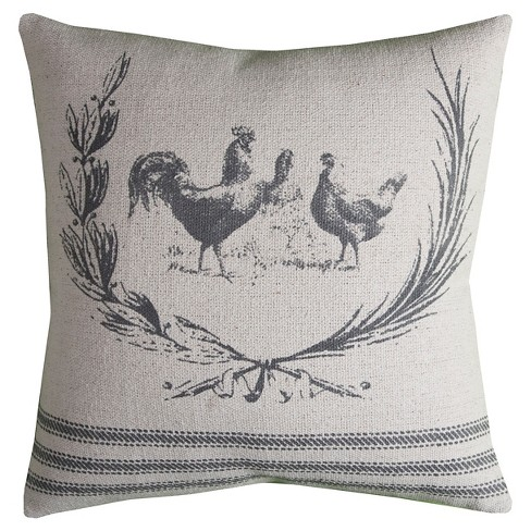 "Natural/Gray Rooster Throw Pillow (20""x20"") - Rizzy Home - image 1 of 2"