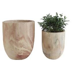 "Round Paulownia Wood Pots (S-2 13-1-2"")"