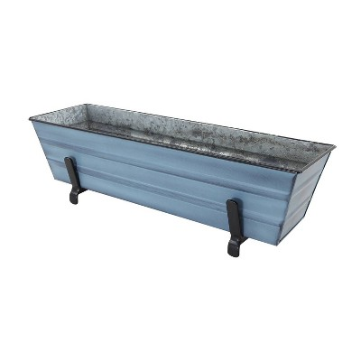 "Small Galvanized Metal Rectangular Planter Box with Brackets for 2"" x 6"" Railing - ACHLA Designs"