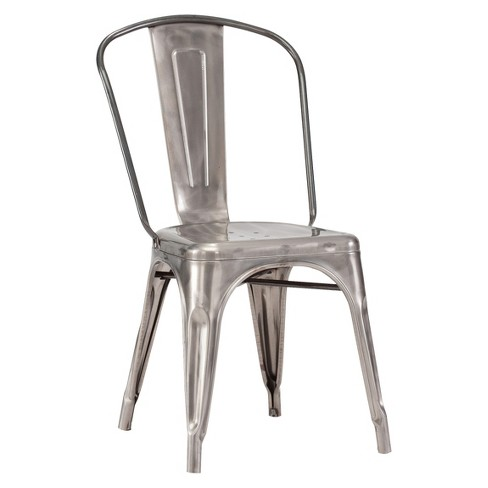Style Metal Dining Chairs Set Of 2 Gunmetal Zm Home