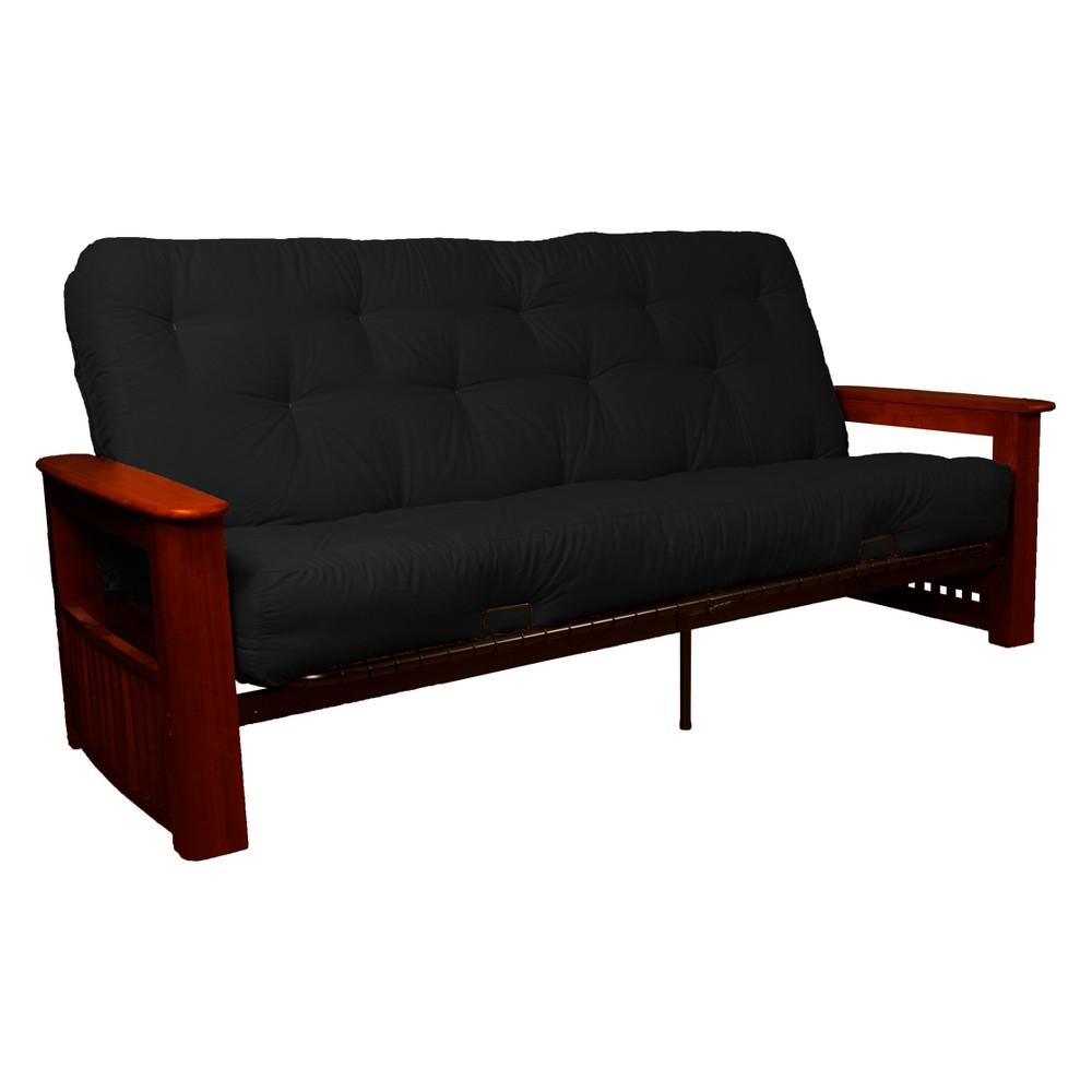 Flip Top Arm 8 Inner Spring Futon Sofa Sleeper Mahogany Wood Finish Twill Black - Epic Furnishings