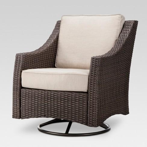 8e0e27eabd0 Belvedere Wicker Swivel Rocker Patio Club Chair - Tan - Threshold ...
