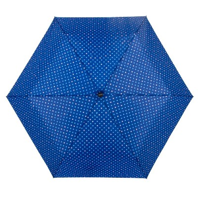 ShedRain Auto Open/Close Compact Umbrella  - Blue Polka Dot
