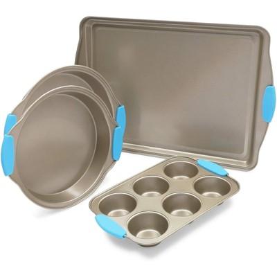 Juvale 4 Packs Nonstick Baking Pan Bakeware Set - Cookie Pans, Cake Pans x 2 , Muffin Pan