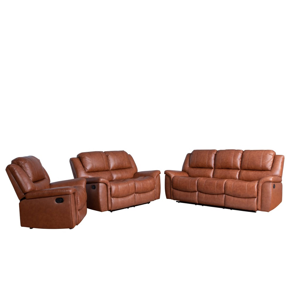Image of 3pc Joel Top Grain Leather Reclining Set Camel - Abbyson Living