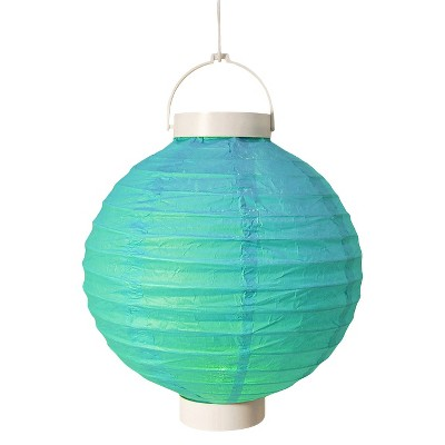 3ct Turquoise Battery Operated Paper Lantern