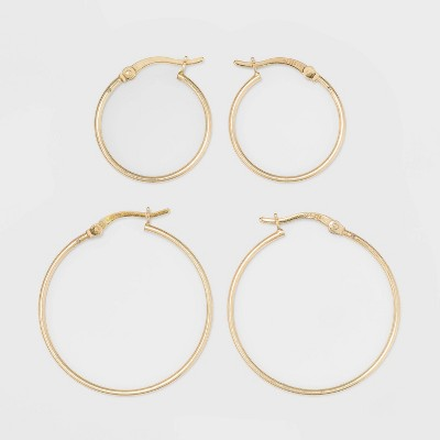 Gold Over Sterling Silver Hoop Fine Jewelry Earring Set 2pc - A New Day™ Gold