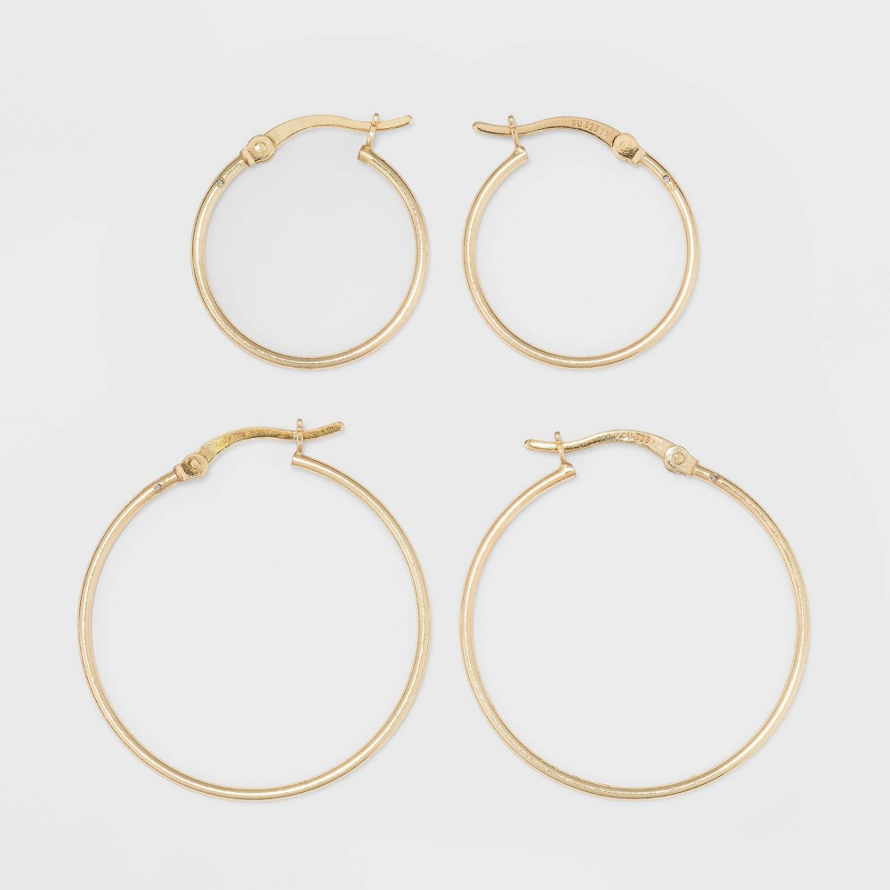 Gold Over Sterling Silver Hoop Fine Jewelry Earring Set 2pc A New Day 8482 Gold