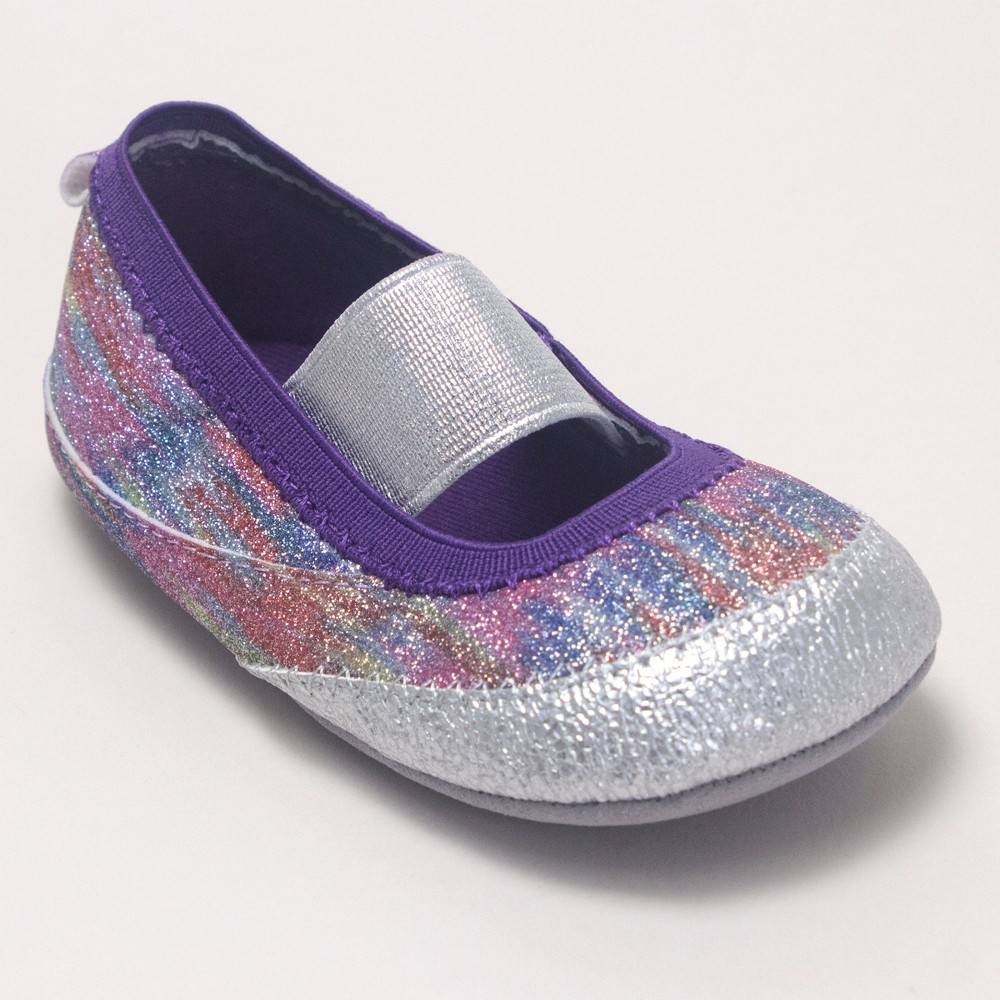 Image of Baby Girls' Ro+Me by Robeez Glitter Mary Jane Shoes - Rainbow 0-6M, Girl's, MultiColored