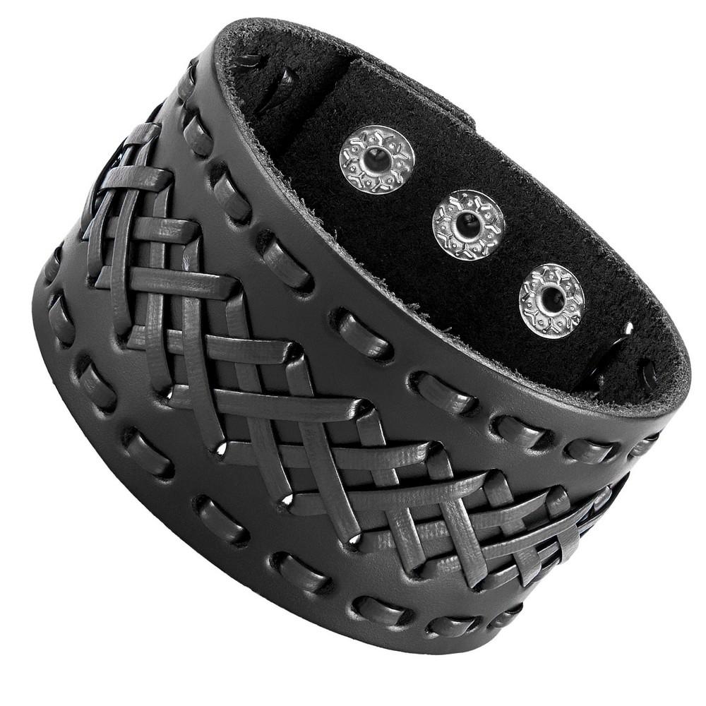 West Coast Jewelry Men's Leather Cross Stitched Cuff Bracelet - Brown, Black