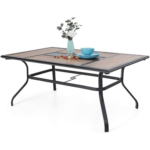 6 Person Rectangle Patio Dining Table, Outdoor Patio Dining Table With Umbrella Hole