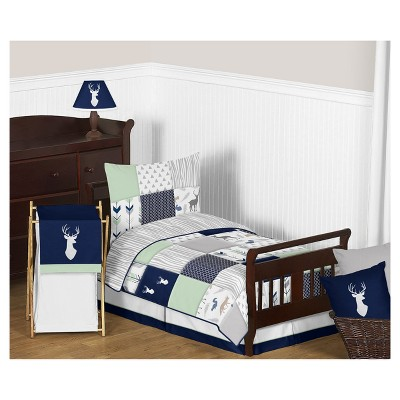Navy & Mint Woodsy Bedding Set (Toddler) - Sweet Jojo Designs