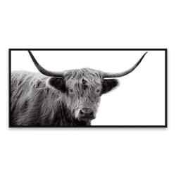 "24.25"" x 48.25"" Highland Cow Framed Wall Canvas Black/White - Threshold™"