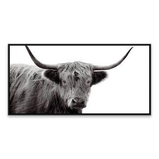 "24.25""x48.25"" Black & White Highland Cow Framed Wall Canvas - Threshold™"
