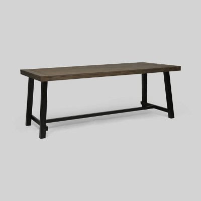 Carlisle Rectangle Acacia and Iron Patio Dining Table - Christopher Knight Home