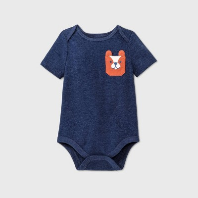 Baby Boys' Bear Pocket Short Sleeve Bodysuit - Cat & Jack™ Blue 6-9M