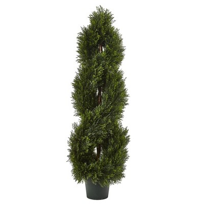 Double Pond Cypress 4'H Spiral Topiary UV Resistant with 1036 Leaves (Indoor/Outdoor) - Nearly Natural