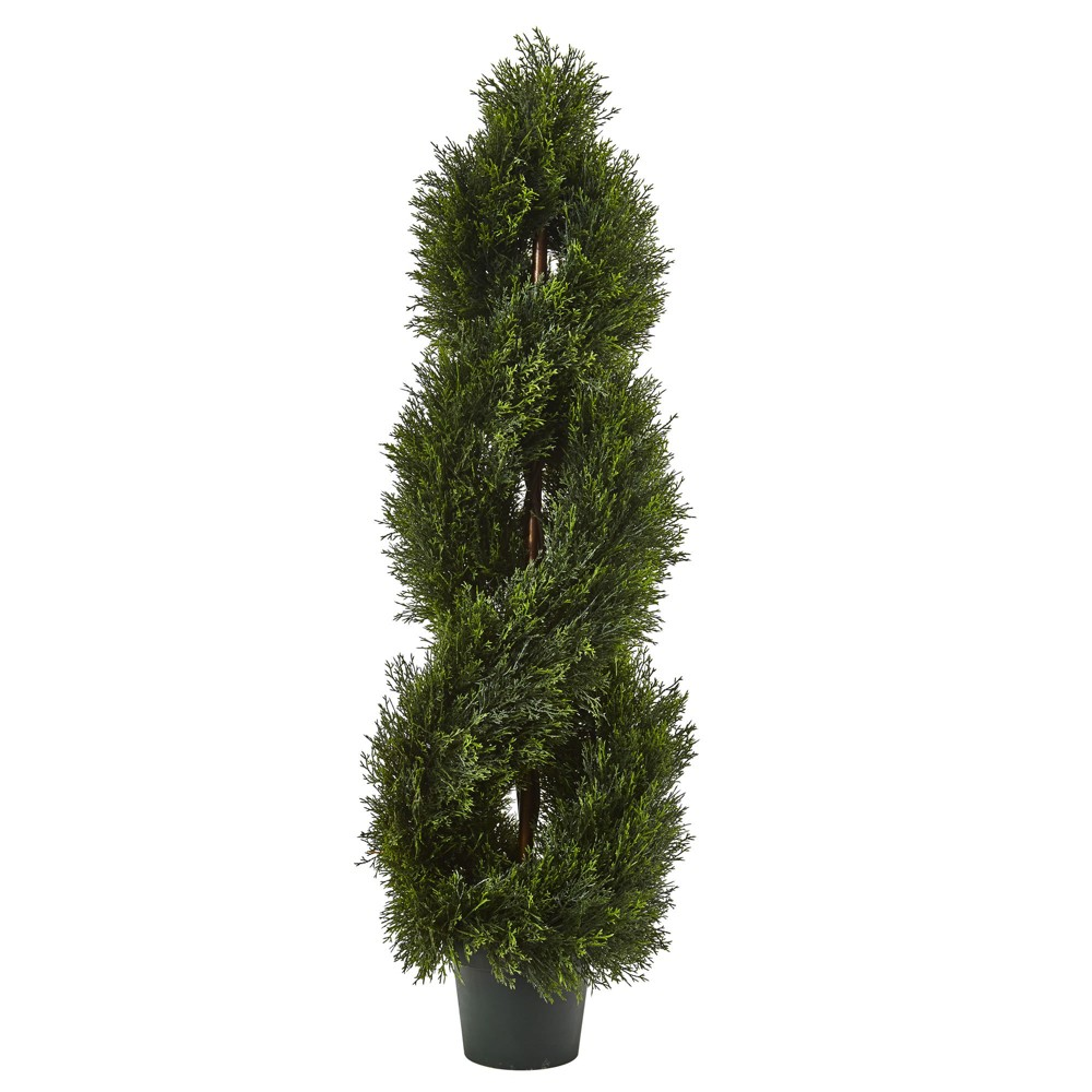 Double Pond Cypress 4 H Spiral Topiary Uv Resistant With 1036 Leaves Indoor Outdoor Nearly Natural