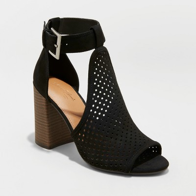 Women's Hannah Microsuede Laser Cut Heeled Pump Sandals - Universal Thread™ Black 7.5