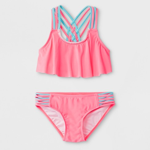 d607426098 Malibu dream Girl Girls  Color Block Bikini Set - Red 7   Target