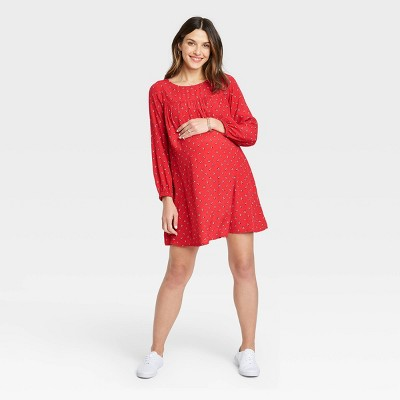 The Nines by HATCH™ Floral Print Balloon Long Sleeve Crepe Maternity Dress Red