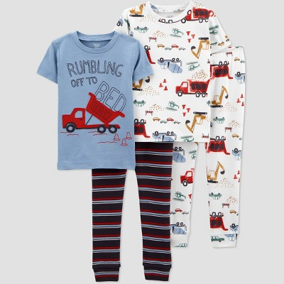 Toddler Boys' 4pc Firetruck Pajama Set - Just One You® made by carter's Blue