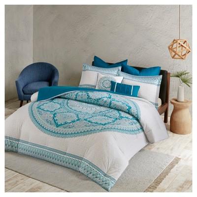Aqua Jillian Printed Comforter Set (Full/Queen)7pc